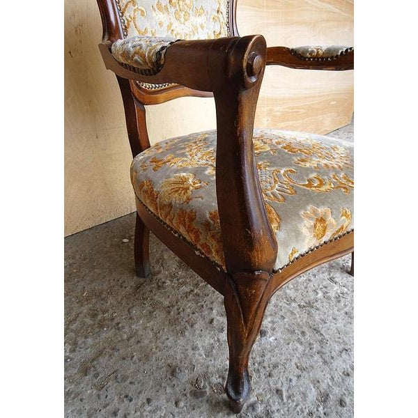 Antique Elegant French Louis XV Style Original Floral Upholstery Walnut Armchair For Sale - Image 9 of 13