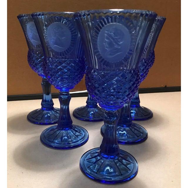Avon Fostoria Cobalt Blue Goblets - Set of 6 For Sale - Image 9 of 9