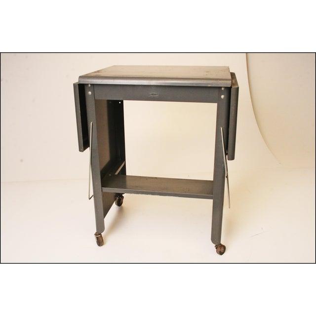 Vintage Cole Steel Industrial Gray Rolling Typewriter Table - Image 4 of 11