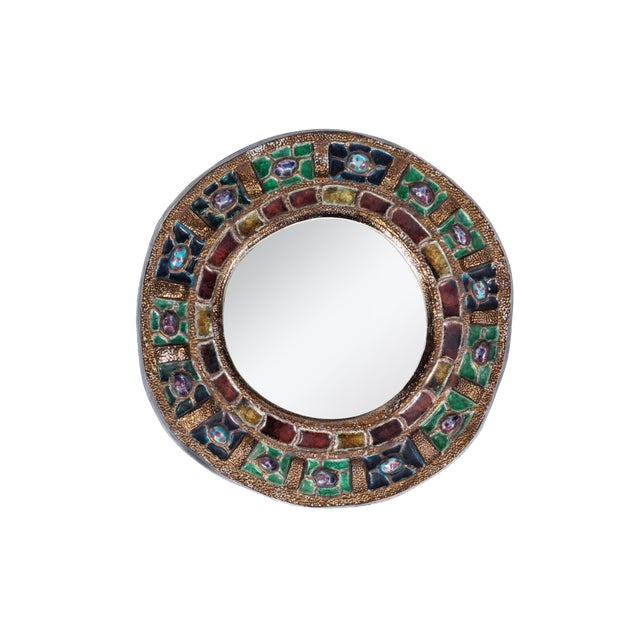 Colorful Ceramic & Glass Mirror by Guerin For Sale