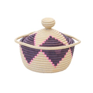 Handwoven Rwandan Sweetgrass Multicolor Lidded Coil Basket For Sale