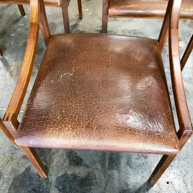 Ico Parisi Ico Parisi Mod 110, Italian Walnut and Leather Dining Chairs 1959 For Sale - Image 4 of 9