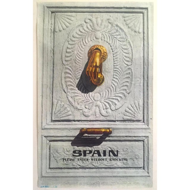 """Vintage Mid Century Rare """" Please Enter Without Knocking """" Collector's Spain Travel Poster For Sale - Image 13 of 13"""