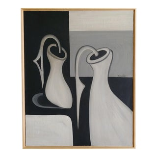 Mid Century Abstract Oil Painting on Canvas by Hamilton For Sale