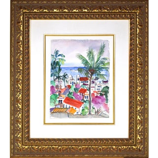 Watercolor Painting of Rooftops of Coastal Town With Palm Trees For Sale