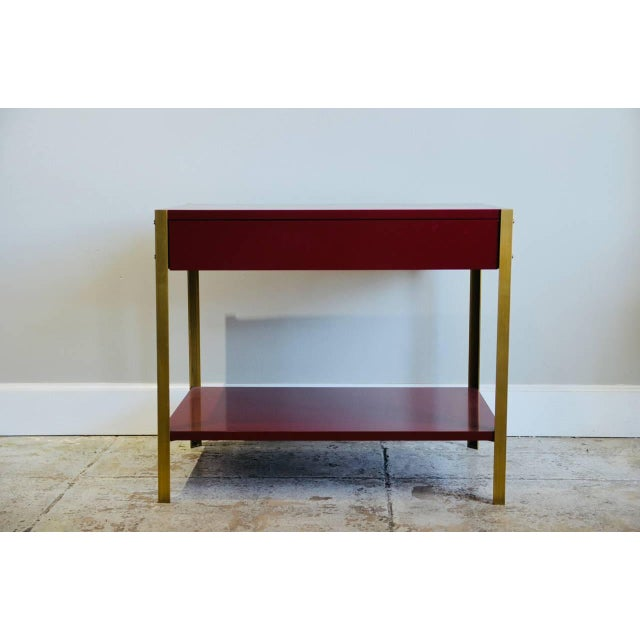 DESIGN FRERES Pair of 'Laque' Oxblood Lacquer and Brass Nightstands by Design Frères For Sale - Image 4 of 6