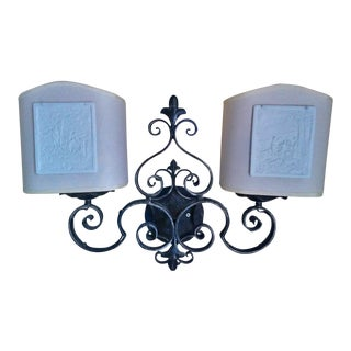 Early 20th Century Antique Porcelain Lithophane Wall Sconces - A Pair For Sale