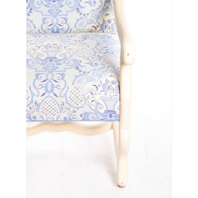 Blue Early 21st Century Louis XIII Style Upholstered Arm Chairs- A Pair For Sale - Image 8 of 9