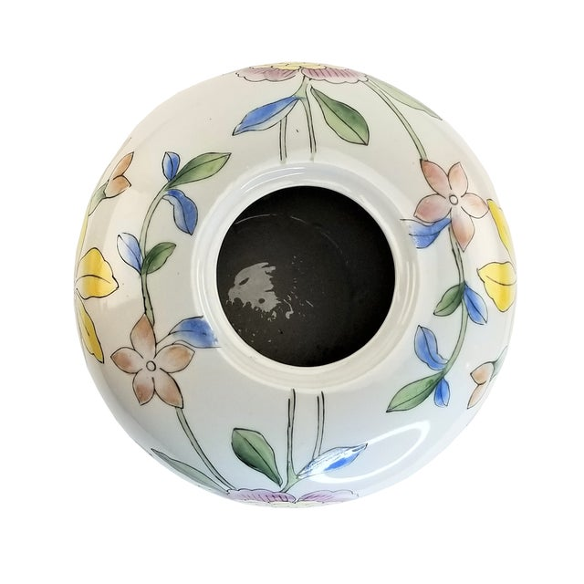 """2000 - 2009 Asian 14"""" Floral Pink Peony White Yellow Porcelain Vase For Sale - Image 5 of 7"""