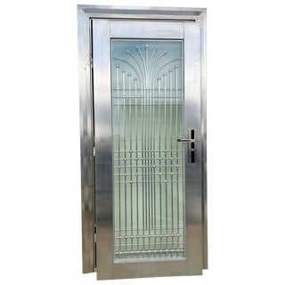 Art Deco Style Polished Steel Chrome and Laminated Glass Door One of a Kind For Sale