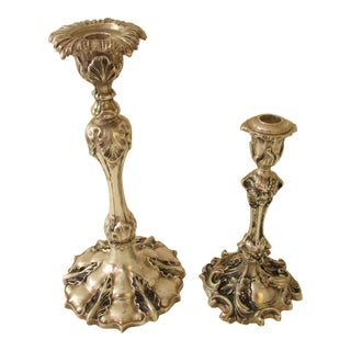 Vintage Silver Plate on Bronze Candlesticks - A Pair For Sale