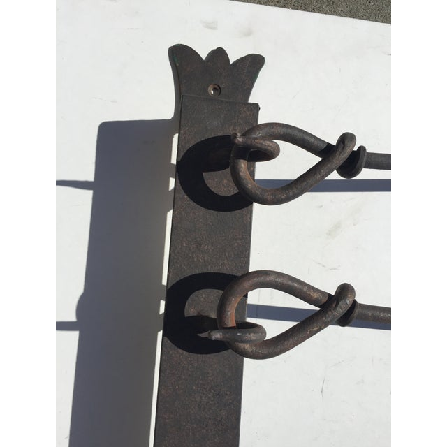 Antique Wrought Iron Wall Mount fireplace tool set. in excellent condition, the brush has seen some use. This heavy...