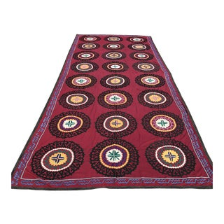 Oversized Vintage Suzani Tapestry - 14.8 x 6' For Sale