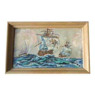 Mid-Century Modern Galleon Ships Painting