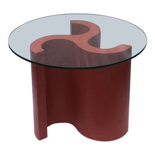 1980s Mid-Century Modern Trefoil Glass Top Side Table For Sale
