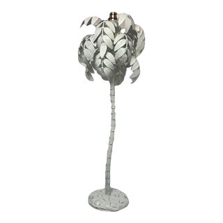 Vintage 1990s Metal Palm Tree Table Lamp For Sale