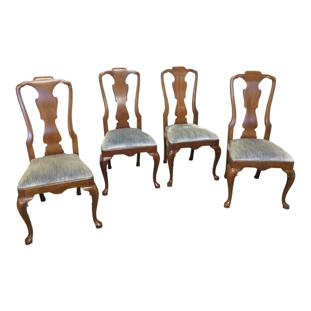 1980s Vintage Henredon 18th C. Collection Walnut Dining Chairs-Set of 4 For Sale