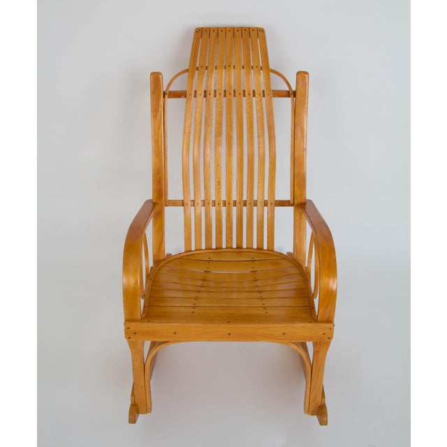 Bentwood Adirondack Rocking Chair with Slatted Seat For Sale - Image 4 of 9