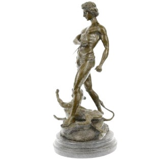 """Youth and Leopard"" Semi Nude Marble Bronze Sculpture by Loys Potet For Sale"