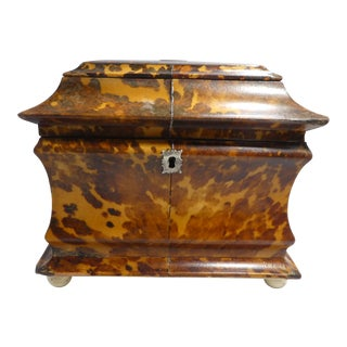 Early 19th Century English Tortoise Shell Tea Caddy For Sale