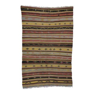 Vintage Turkish Flat-Weave Striped Kilim Tribal Rug, 5'8 X 8'6