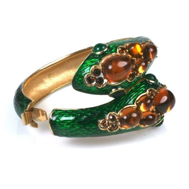 Mid-Century Modern Trifari Jeweled Snake Bangle For Sale - Image 3 of 6