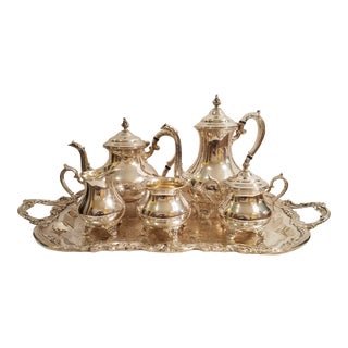 Gorham Silver Plate Coffee, Tea, Cream, Sugar and Waste Pot Set With Tray - Set of 6 For Sale