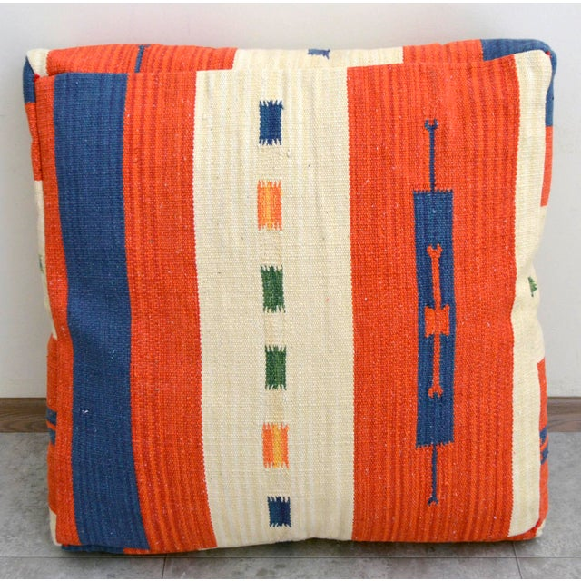 Turkish Hand Woven Floor Cushion Cover Cotton - 26″ X 26″ For Sale - Image 5 of 8