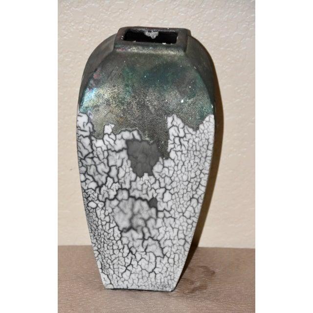 1980s Tony Evans Raku Fired Studio Pottery Decorative Art Vase For Sale - Image 5 of 9