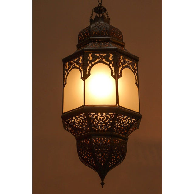 Moroccan Moorish Hanging Lantern With Milky Glass For Sale In Los Angeles - Image 6 of 7