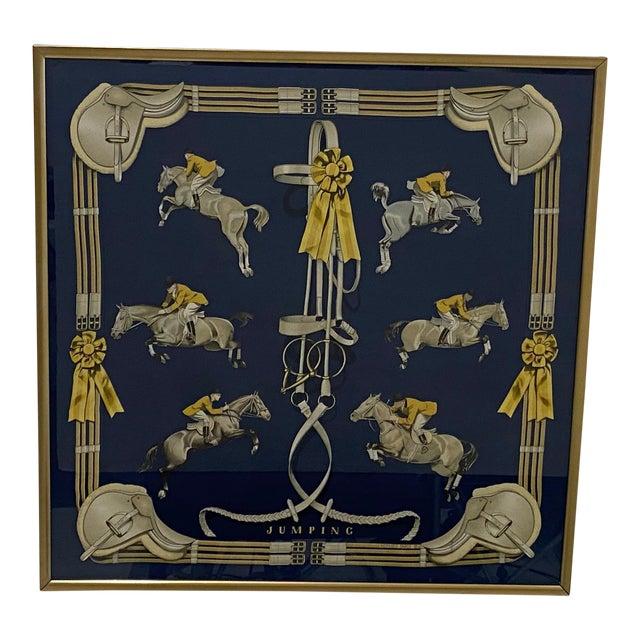Framed Vintage Hermes Scarf in Navy Blue and Gold For Sale
