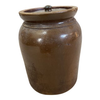 Vintage Brown Crock With Lid For Sale
