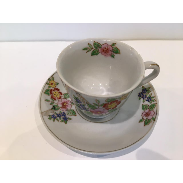 Japanese Tea Cup and Saucers - 5 Piece Set For Sale - Image 4 of 9