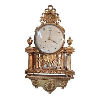 18th Century Gustavian Gilt Wood Wall Clock