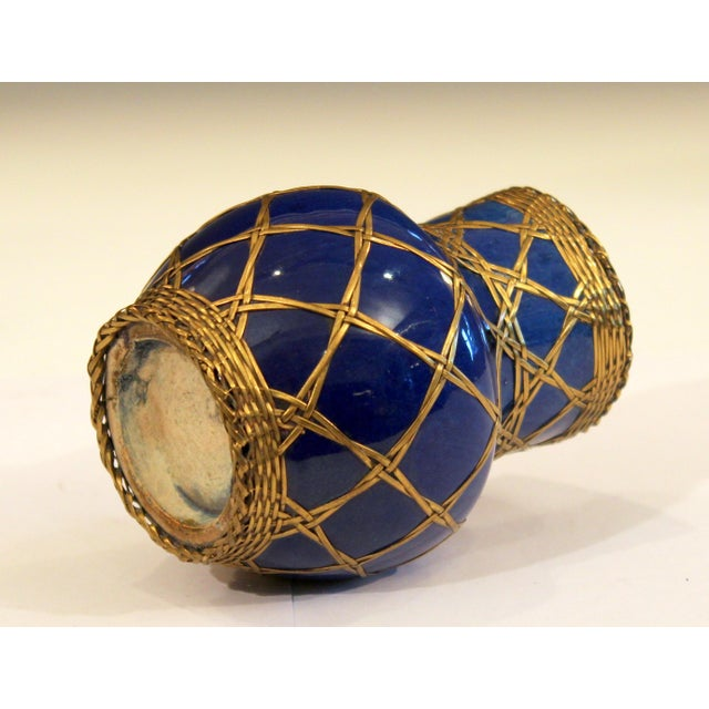 Blue Antique Awaji Pottery Japanese Arts & Crafts Cup Brush Pot Jar Bronze Weave For Sale - Image 8 of 12