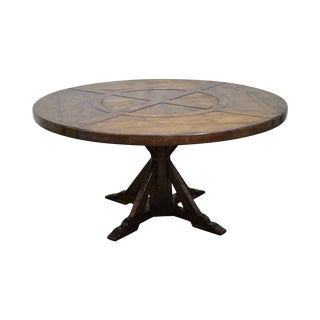 Jonathan Charles Round Casually Country Walnut Dining Table For Sale