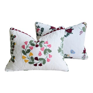 "American Farmhouse Patchwork Appliqué Feather/Down Pillows 24"" X 17"" - Pair For Sale"