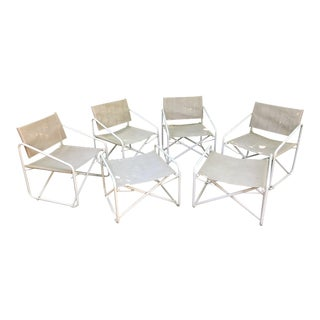 Vintage Mid-Century Brown Jordan Outdoor Chairs & Ottomans - Set of 6 For Sale