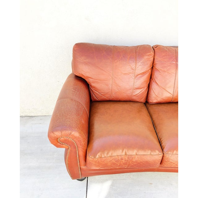 Vintage Rapallo Italian Leather Sofa For Sale In Los Angeles - Image 6 of 8