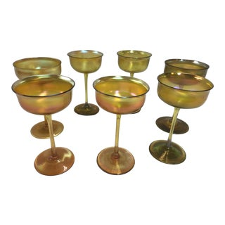 7 Tiffany Wine Glasses Lct Favrile For Sale