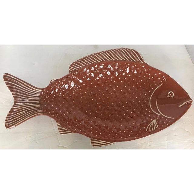 Vintage Rust Color Fish Platter For Sale - Image 4 of 9