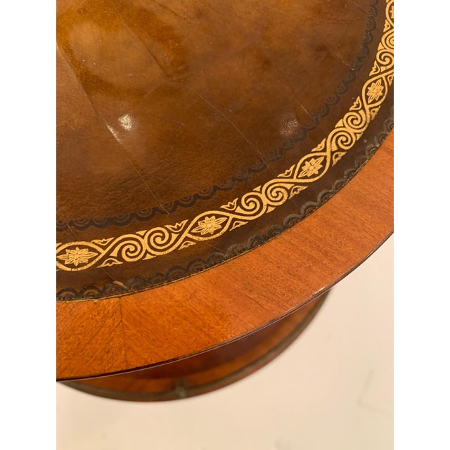 Traditional Antique 2 Tier Mahogany and Tooled Leather Side Table For Sale - Image 3 of 13