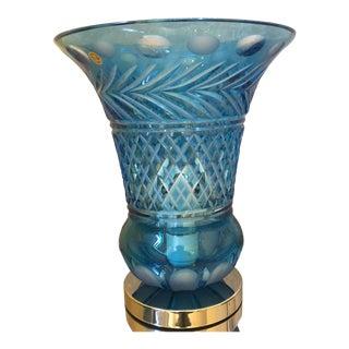 Italian Table Lamp Handmade Crystal Rare Blue Light Color For Sale