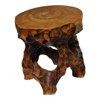 Japanese Hand Carved Round Stand Sculpture For Sale