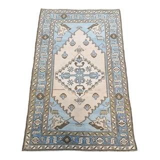 Blue Vintage Turkish Geometric Anatolian Oushak Rug For Sale
