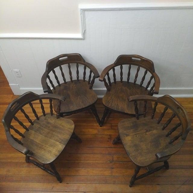 Country 1950s Vintage Yugoslavian Barrel Back Windsor Captain Chairs - Set of 4 For Sale - Image 3 of 8