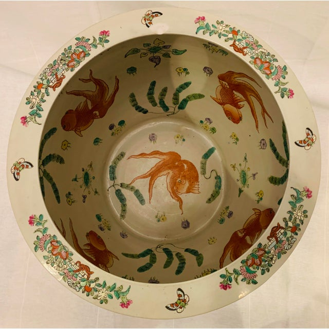 Chinese Vintage Chinese Famille Rose Canton Hand Painted Fishbowl Planter For Sale - Image 3 of 10