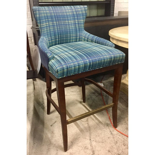 Century Furniture Century Furniture Plaid Barstool For Sale - Image 4 of 4