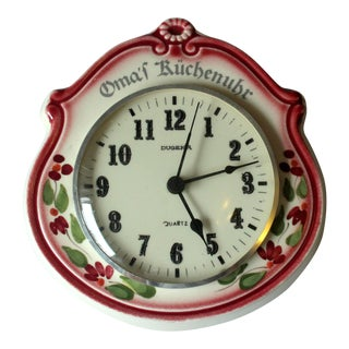 1970s Ceramic Dugena Kitchen Wall Clock For Sale