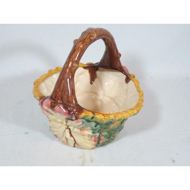 Vintage Majolica Pansy Basket For Sale - Image 4 of 9